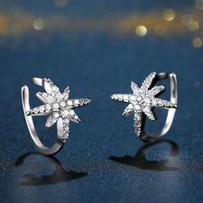 0.20 Ct Sim Diamond Simple Ear Jacket / Cuff Earring 14K White Gold Fn Silver
