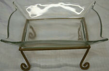 """10""""x10"""" Glass Candy W/ Stand Dish Bowl With 1963 Collectible Swyc Log Races Dish"""