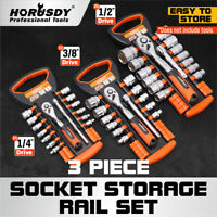 3 Industrial ABS Mountable Socket Sliding Rail Rack Holder Organizer 1/4 3/8 1/2
