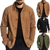 Mens Autumn Fashion Coat Long Sleeve Solid Tops Corduroy Casual Blouse US