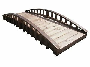 8' Crescent Japanese Garden Bridge with Arched Railings, Made in USA, New