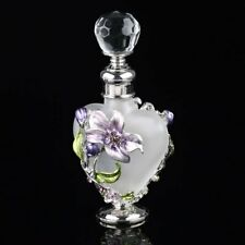 Vintage Lily Flower Glass Crystal Metal Perfume Bottles Wedding Empty Gift 5ml