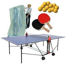 Sponeta 1-43 i blau im Set indoor Tischtennisplatte mit Abdeckhülle Schlägerset