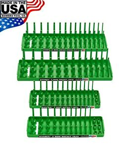 "Hansen 4pc Socket Holder Tray Organizer Set 3 Row 1/4"" 3/8"" Deep Shallow Green"