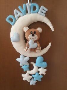 Fiocco nascita orsetto luna bimbo personalizzato con nome