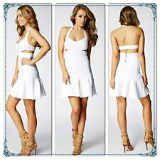 $138 Guess Mirage Scuba Cutout Bandage Halter Mini Dress White Xs