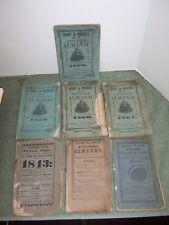 LOT of 7 ANTIQUE ALMANACS 1843 TO 1861