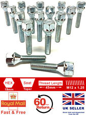16 x M12 x 1.25 45mm extended thread 19mm Hex alloy wheel bolts for Citroen
