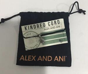 Alex and Ani Kindred Cord 925 Sterling Bracelet Black Christmas Tree J3
