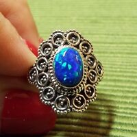 * FIRE OPAL RING * in .925 Sterling Silver Ornate Setting, Size 6.5