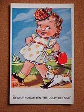 R&L Postcard: Artist Kit Forres, Regent Pub. 7749, Handbag Girl Dog