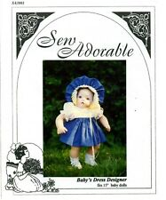 Sew Adorable Baby Doll Clothes Pattern fits American Girl, Baby's Dress Designer
