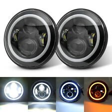 "For Jeep Wrangler JK TJ CJ 1997-18 Pair 7"" Black LED Headlights DRL Turn Singal"