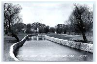 Postcard Scene in Leota Park, Evansville, Wisconsin WI 1950+ RPPC H48