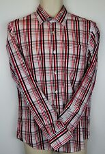 80's 2ply TOMMY HILFIGER Red-Black-Grey-White Check Single Cuff Shirt L see note
