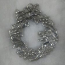 Maurice Milleur Fine Pewter Christmas Wreath Pin/Brooch/Pendant Jewelry