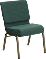 HERCULES Series 21''W Stacking Church Chair in Hunter Green Dot Patterned Fab...