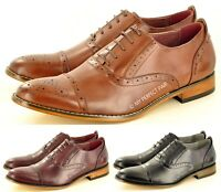 New Mens Leather Lined Toe Cap Brogue Formal Lace Up Office shoes UK Size 7-12