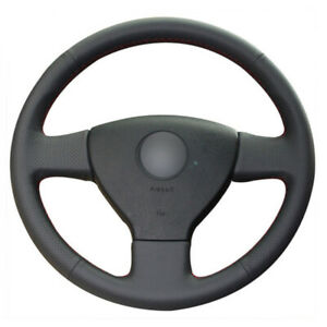 Leather Steering Wheel Hand-stitch on Wrap Cover For VW Golf Polo Sagitar Polo