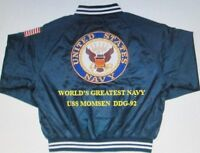 USS MOMSEN  DDG-92   NAVY ANCHOR EMBROIDERED 2-SIDED SATIN JACKET