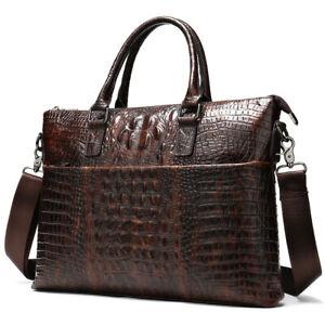 "100% Genuine Leather Crocodile Pattern Business Briefcase 14"" Laptop Bag Handbag"