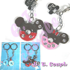2P Mickey Minnie adorable Love couple donut diamond pendant Disney cute keyring