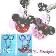 2P Mickey Minnie adorable Love couple donut diamond pendant Disney cute keyring