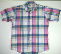 Vintage McGregor Pink Plaid Shirt Sz L Slim 80s Kurt Cobain Grunge Weezer