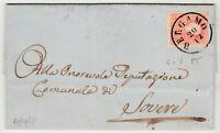 STORIA POSTALE - 1858 LOMBARDO VENETO 5 SOLDI SU BUSTA PER BERGAMO Z/9555