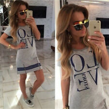 Women Love Print Short Mini Dress Ladies Summer Beach T-Shirt Long Tee Shirts AU