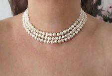 7/8 mm, 3 Rows Freshwater Cultured Pearl Necklace - Choker.