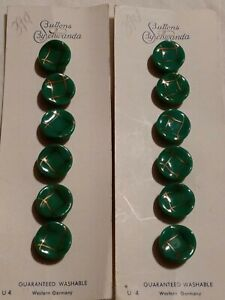 """12 vintage glass buttons 1/2"""" green w/ gold Western Germany new on card"""