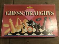 """Vintage """"Chess and Draughts"""" combined edition by Spears Games wooden draughtsmen"""
