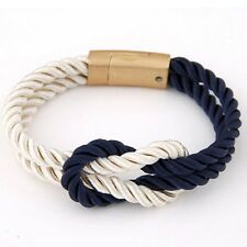 Handmade Multilayer Rope Wrap Cord Magnetic Wristband Mens Womens Bracelet + Box