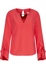 Sportalm NEU Gr.46 Bluse Peony Korall-OrangeRot mit Volant-Ärmel Farbe tea berry