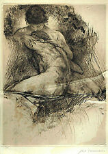 """Expressionist etching """"Nude. Gay Couple"""", ex. 20/125, sign. pencil Paul Hermann"""