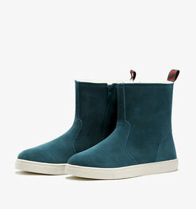 Women's Suede Leather Ankle Snow Boots 4 Colors--Green UK 6