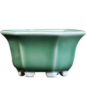 Hexagon Chinese Shohin Glazed Shallow Bonsai Pot with Hole
