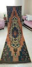 Decorative Cr1930-1940's Wool Pile, Natural Henna Dye, Oushak Runner  Rug