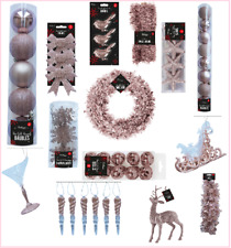 ROSE GOLD Collection Christmas Decorations Tinsel Baubles Bells Stag Birds Snow