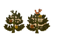 """1960 MCM Vintage Syroco """"Tree of Life"""" Matching Set Of Wall Plaques, Rare Colors"""