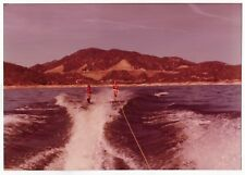 Vintage 70s PHOTO Water Skiers Guys Skiing Behind Boat on Lake