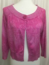 Express Womens Cardigan Sweater Pink Geometric One Button Long Sleeve SZ L