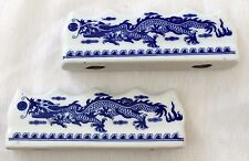 3 CHINESE PAINTING WRITING FOR 12 BRUSH DRAGON CERAMIC STAND REST JAPANESE CRAFT