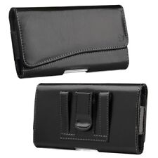 """For Samsung Galaxy Mega 6.3"""" Horizontal Pouch Leather Case Cover Belt Clip Black"""