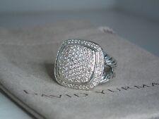 DAVID YURMAN ALBION 14MM PAVE DIAMOND STERLING SILVER SPLIT SHANK RING SZ 6