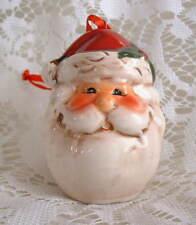 New Handpainted Ceramic Ho Ho Ho Happy Santa Claus Christmas Ornament