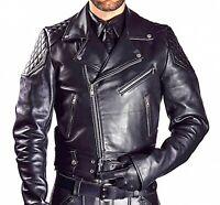 Mens Real Cowhide Bikers Jacket Quilted Panels Bikers Jacket BLUF Quilted Jacket