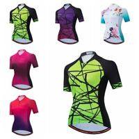 Green Cycling Jersey Women Short Sleeve Bike Shirt Bicycle Clothing Jacket Tops