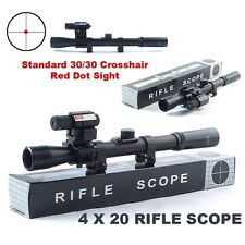 4x20 Air Gun Optics Scope+ Red Laser Sight+ 20mm Mount For 22 Caliber Rifles